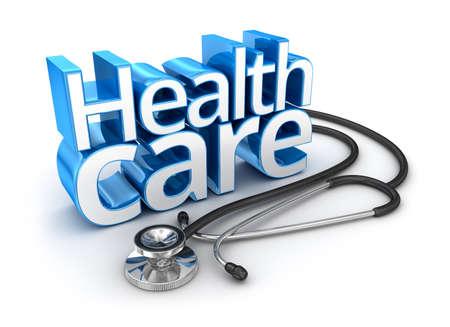 text 3d: Health Care text, 3d Concept