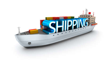 conept: Cargo vessel with shipping word. 3D conept over white Stock Photo