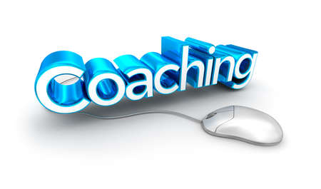 text 3d: Coaching text, 3d Concept isolated on white Stock Photo