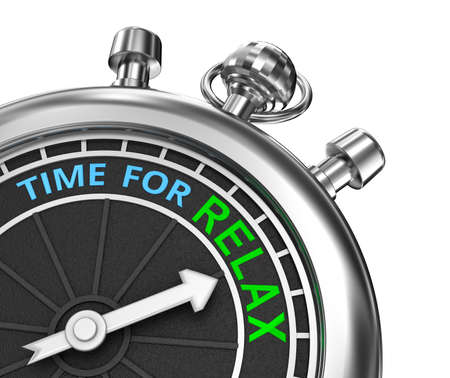 timepiece: Time to relax, timepiece 3d concept, isolated Stock Photo