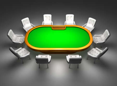 texas hold'em: Poker table with chairs top view isolated on black