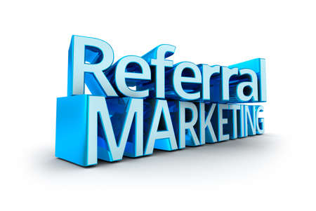 referral marketing: Referral Marketing text, 3d Concept isolated on white