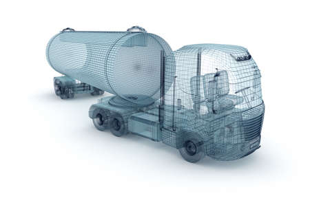 lorry: Oil truck with cargo container, wire model