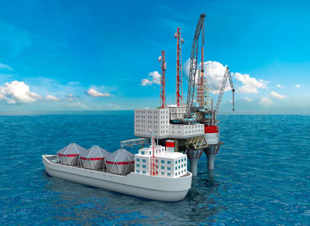 oilwell: Drilling offshore Platform in sea. 3D image