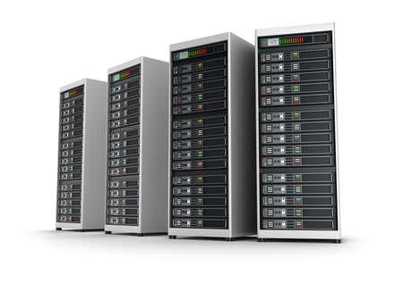infraestructura: Fila de servidores de red en centro de datos aislados sobre fondo blanco