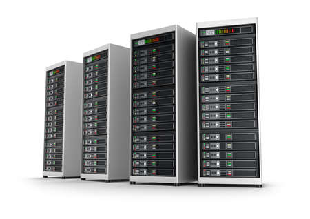 database server: Row of network servers in data center isolated on white background