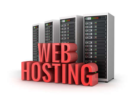 ferm: Web Hosting servers concept over white