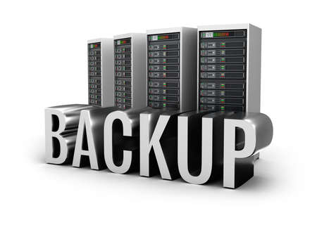 web security: Backup servers and word concept over white
