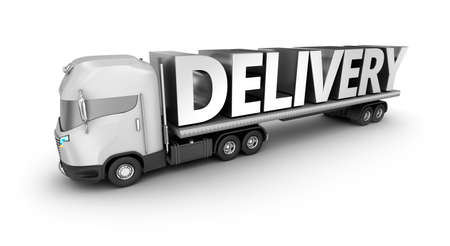 semitrailer: Modern truck with delivery word, isolated