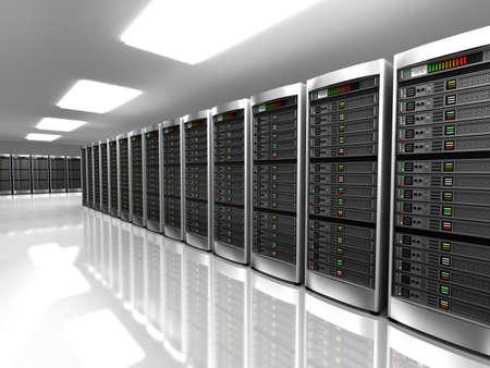 hardware: Interior moderno de la sala de servidores en el centro de datos