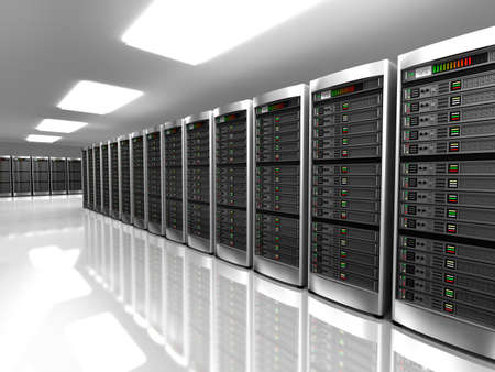 internet servers: Modern interior of server room in datacenter Stock Photo