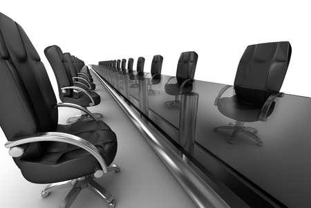 ejecutivo en oficina: Lugar de trabajo de negocios, sala de juntas interior blanco Foto de archivo