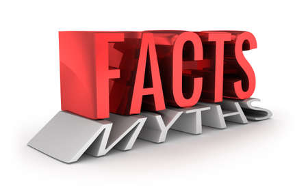 factual: Facts instead of Myths 3d word concept over white Stock Photo