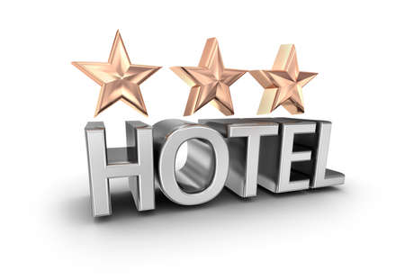 star icon: Three stars hotel text, 3d concept isolated on white
