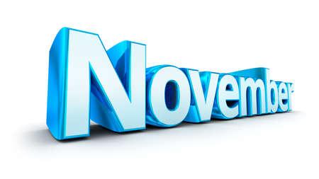 november: Word November, 3d concept over white Stock Photo