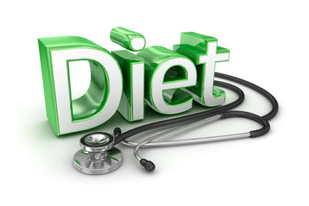 food fight: Diet text, 3d medicine Concept