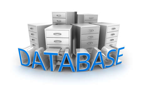 Database tekst en office containers, 3d Concept