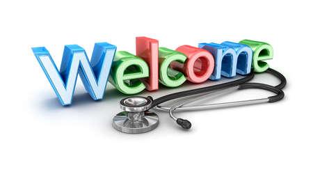 bienvenida: Bienvenido a la medicina, aislado 3d Concepto