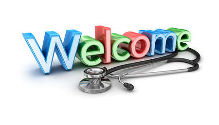 welcome symbol: Welcome to medicine, 3d Concept isolated Stock Photo