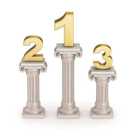 doric: Podium: Antique doric style column with numbers Stock Photo