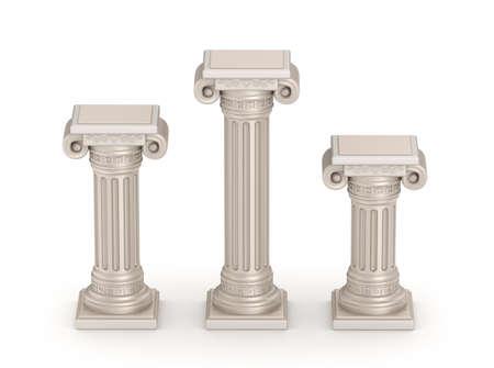 grabado antiguo: columna de estilo dórico antigua - detalle arquitectónico