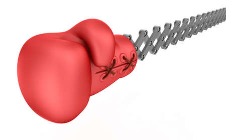 suddenness: Boxing glove surprise, isolated on white