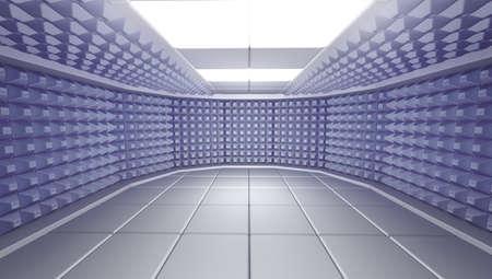 acoustical: Soundproof room interior, 3d render image