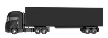 lorry: Black truck with container isolated on white. My own design Stock Photo