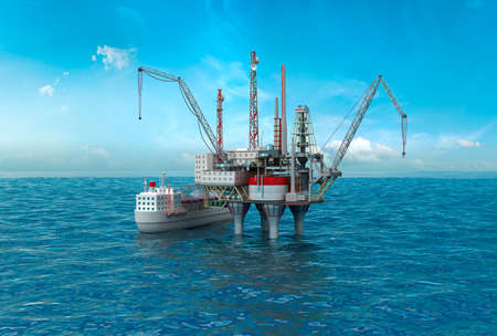swapping: Drilling offshore Platform in sea. 3D image
