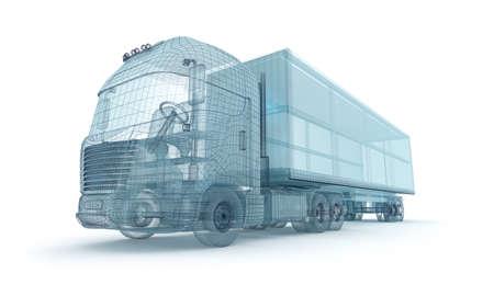 LKW mit Frachtcontainer, Drahtmodell. Mein eigenes Design Standard-Bild - 48864689