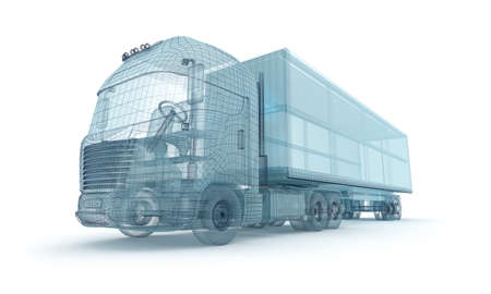 wireframe: Truck with cargo container, wire model. My own design