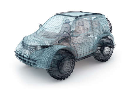 offroad car: Offroad car design, wire model. My own design.