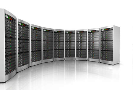 hosting: Row of network servers in data center isolated on white background