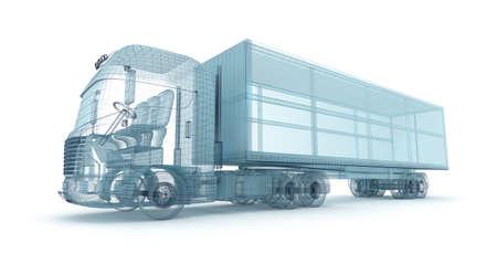 Carro con el contenedor de carga, modelo de alambre. Mi propio diseño Foto de archivo - 48864728