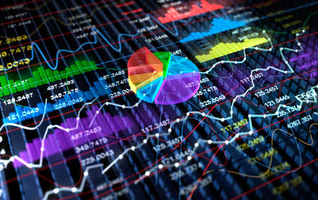 Stock Exchange 3D Graph background, 3D illustration Stok Fotoğraf