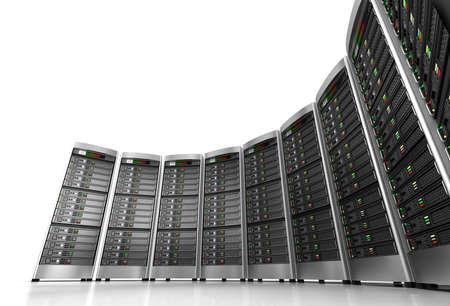 데이터 센터의 네트워크 서버의 행 흰색 배경에 고립 스톡 콘텐츠