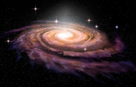 espiral: Galaxia espiral en profundidad spcae, ilustración 3D Foto de archivo