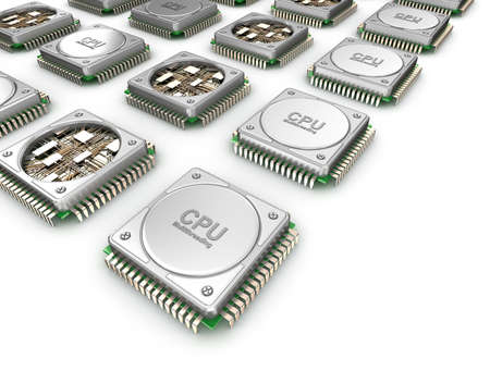 array: Array of CPUs. Central processor units isolated on white.