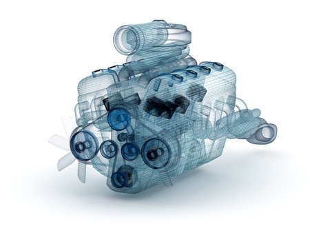 engine: Wire model of engine with turbocharger over white. My own design.