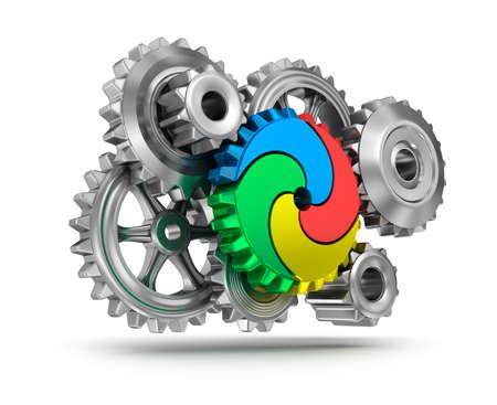 puzzle corners: Colorful gear wheels - teamwork concept