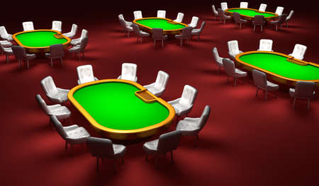 hold'em: Poker room, Poker tables with chairs in the interior