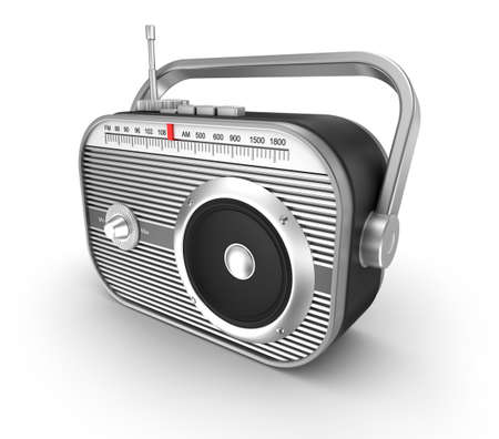 retro radio: Retro radio over white