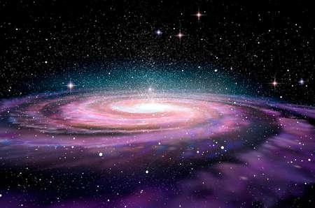 costellazioni: Galassia a spirale in profonda spcae, illustrazione 3D