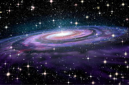 discovering: Spiral Galaxy in deep spcae, 3D illustration