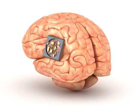 chip: Human brain with computer chip