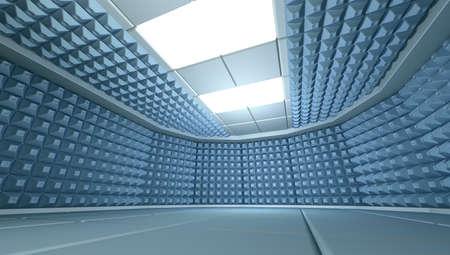 noiseless: Soundproof room interior, 3d render image