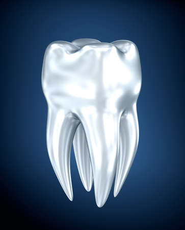 carious cavity: Tooth on a blue background