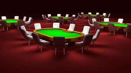 recreation rooms: Poker room, Poker tables with chairs in the interior
