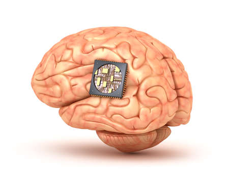 Human brain with computer chip 3D rendering