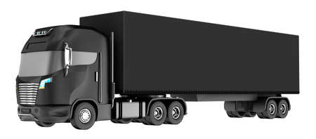 hauling: Black truck with container isolated on white. My own design. 3D rendering Stock Photo